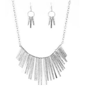 """Welcome to the Pack"" Silver Necklace & Earrings"